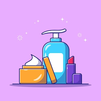 Set of beauty skin care cosmetics bottle flat icon illustration