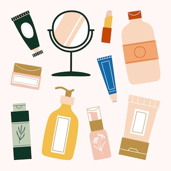 Set of beauty skincare and body care essentials products. facial creams, hand cream, mirror, lip balm, toner, acne spot, moisturizer, lotion, serum, sunscreen and sunblock illustration.