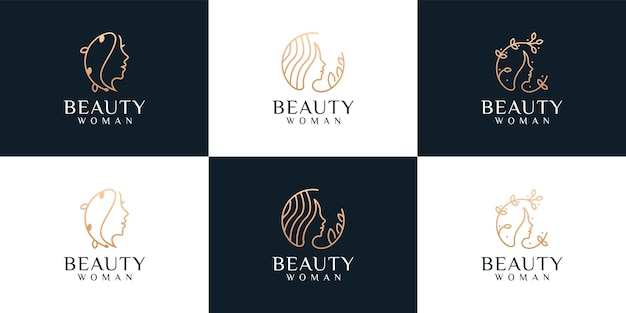 Set of beauty woman face monogram hairstyle logo