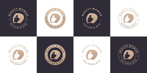 Set of beauty woman salon and spa logo design collections