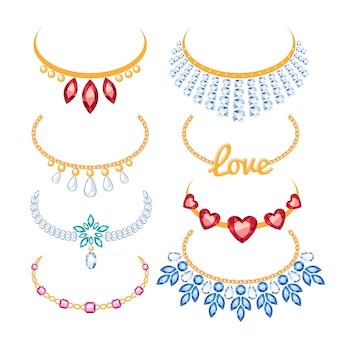 Set of beautyful golden necklaces with gemstones.