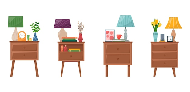 Set of bedside tables with lamp, clock, vase with flowers, books, phone, cream for hand and face, vector illustration