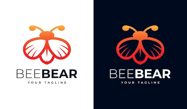 Set of bee bear logo creative design for all uses