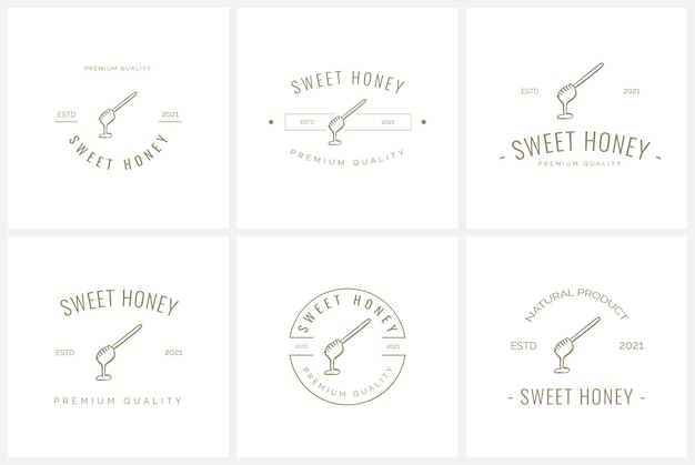 Set of bee and honey badge logo template