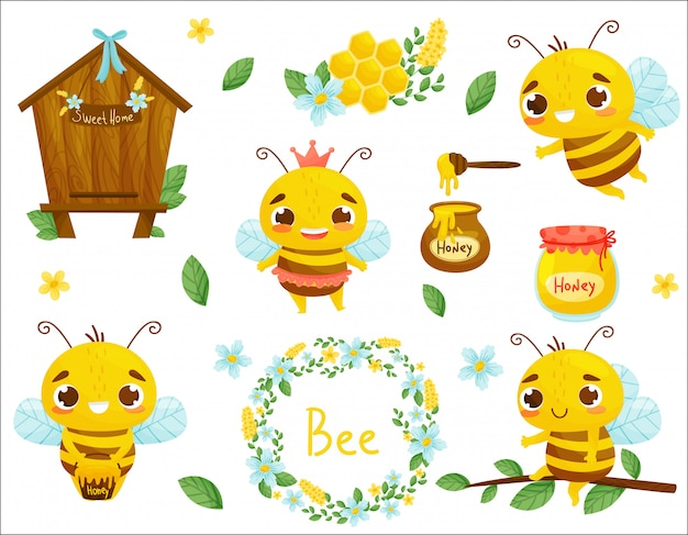 Set of bee, honey and other beekeeping illustration. . cartoon style.