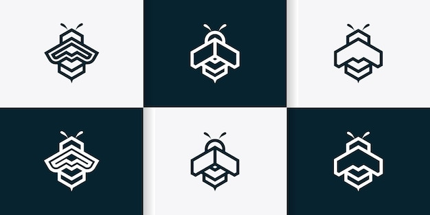 Set of bee logo template with geometric shapes line art concept premium vector
