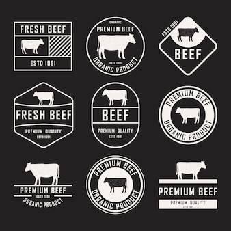 Set of beef labels, badges and design elements.