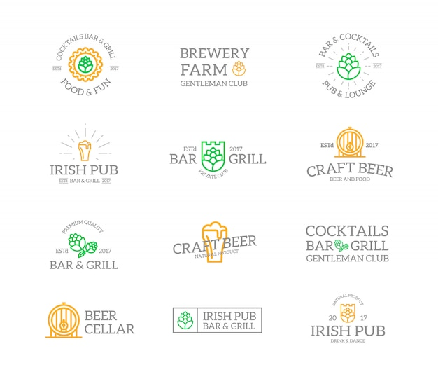 Set of beer and alcohol  logo combination.