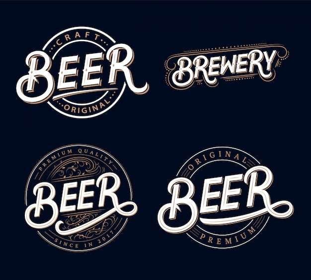 Set of beer and brewery hand written lettering logos