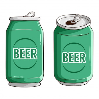 Set of beer can with colored hand drawn style
