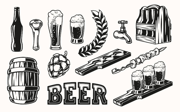 Set of beer elements for design on light background. all items are in separate groups.