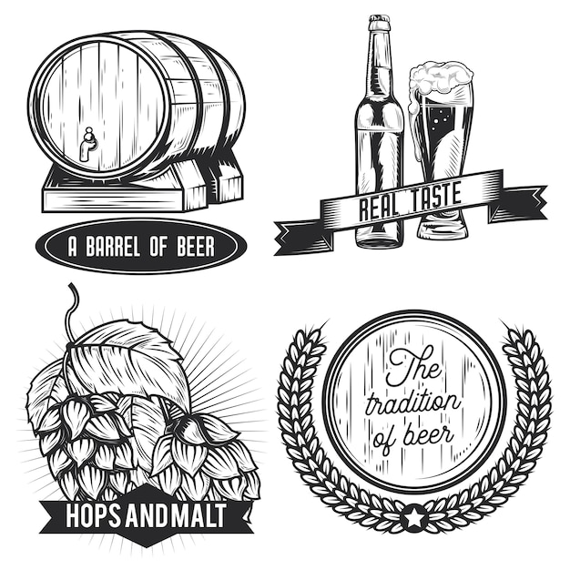 Set of beer emblems, labels, badges, logos.