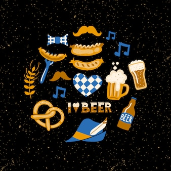 Set of beer fest attributes on grunge background.