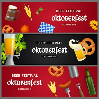 Set of beer festival banners with realistic objects