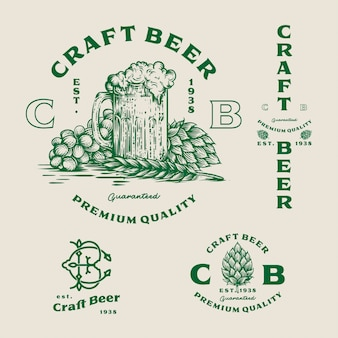 Set beer logo - illustration, emblem brewery design.