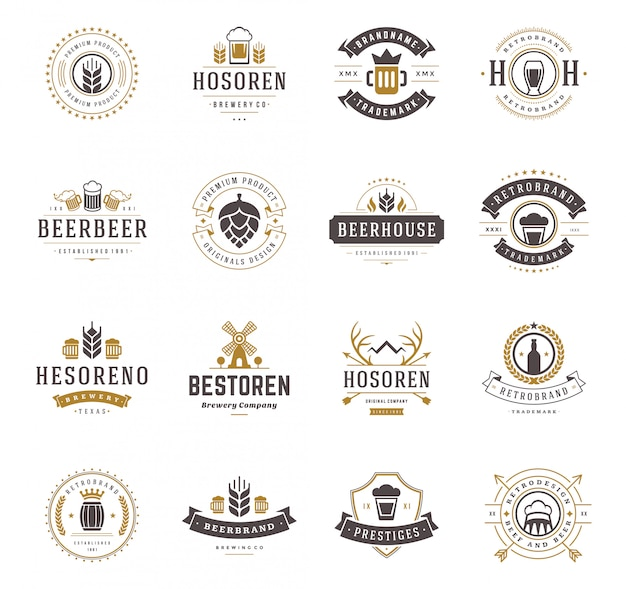 Set beer logos badges and labels vintage style illustration.