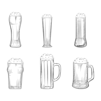 Set of beer mug. full beer glasses with foam. engraving style.
