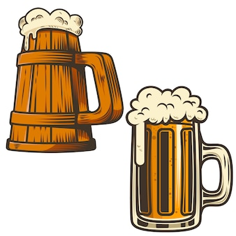 Set of beer mug illustration on white background.  element for poster, card, emblem, sign, menu.  illustration