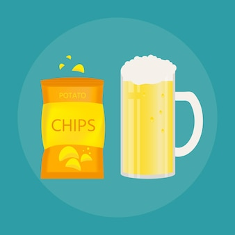 Set of beer mug and snack made in flat style. light beer with crispy potato chips. vector illustration for banners, posters, restaurant and pub menu.