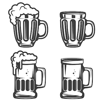 Set of beer mugs icons  on white background.