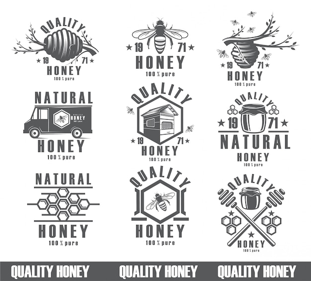 Set of bees background, vintage icons, nectar, packing product. figure bees, the design of a natural product.