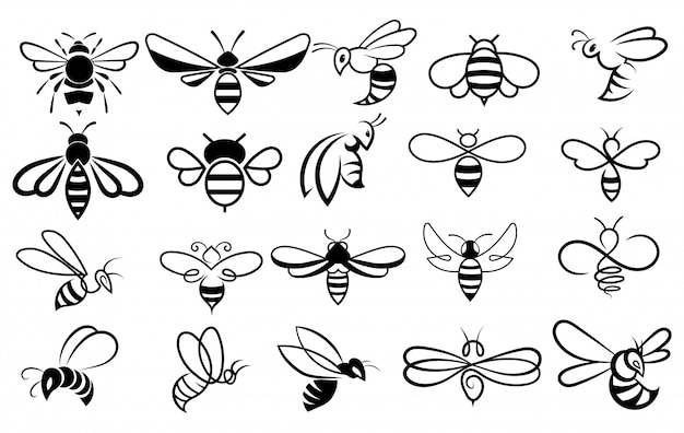 Set of bees. collection of stylized honey bees