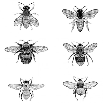 Set of bees in zentangle style. collection of flies with ornaments.