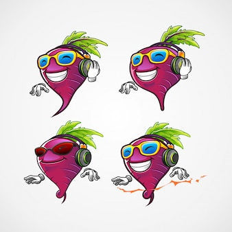 Set of beetroot dj for the beat music mascot cartoon character
