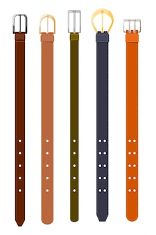 Set of belts of different colors