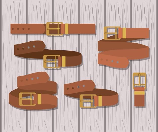 Set belts masculine icons