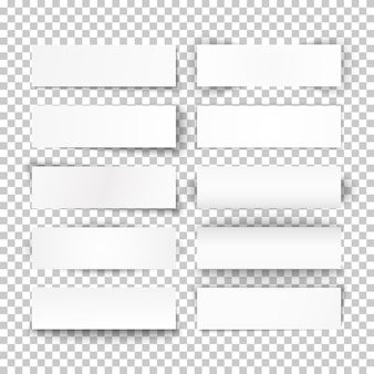 Set of bended white paper banners on transparent background.  illustration.