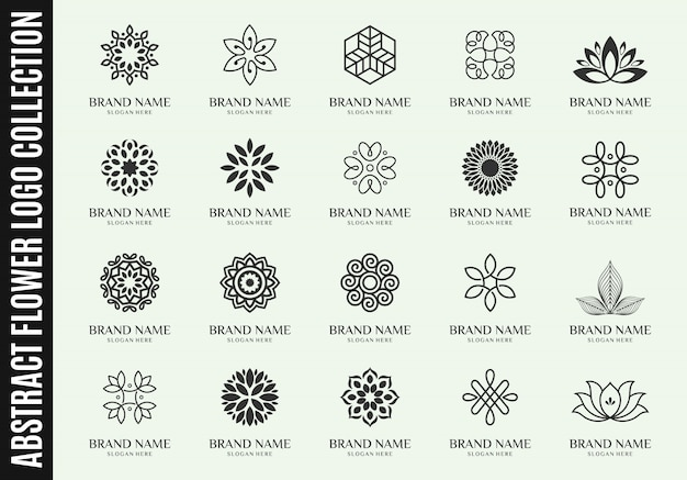 Set of best abstract flower logo collections
