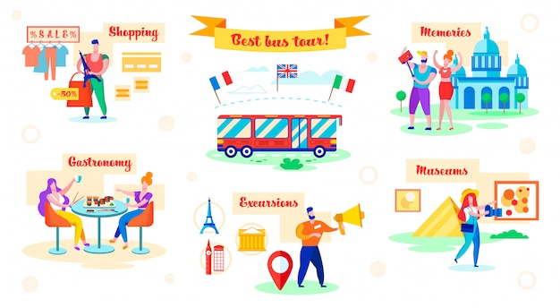 Set best bus tour, shopping and gastronomy, flat.