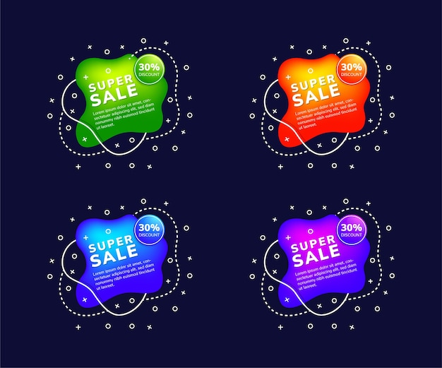 Set of best offer and sale liquid shape of element banners chat speech bubble sign web shopping labels gradient color with four variant are green blue purple and orange