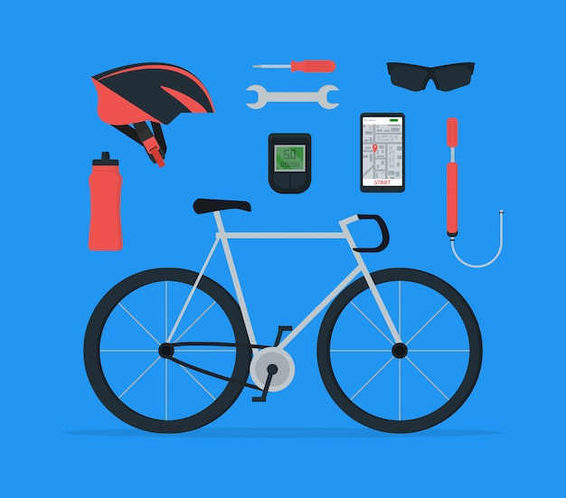 Set of bicycle elements in flat style.