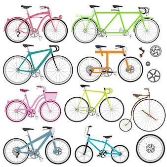 Set of bicycles in flat style guide of bike types