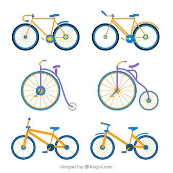 Set of bicycles and unicycles in flat design