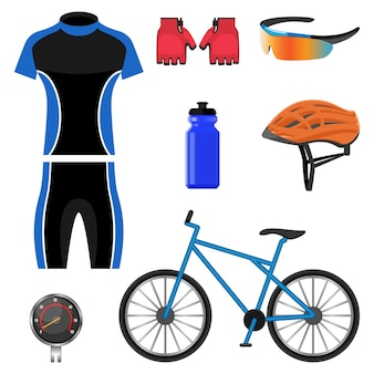 Set of bicycling icons illustration