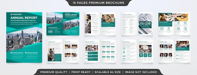 Set of bifold brochure template design with minimalist and clean style use for presentation and annual report