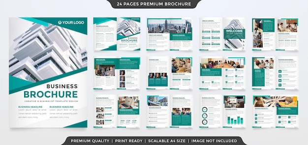 Set of bifold brochure template with minimalist style