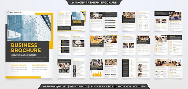 Set of bifold business brochure template with modern concept and minimalist style