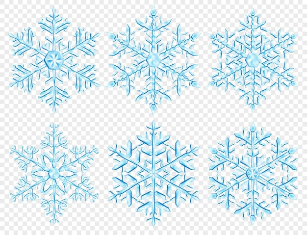 Set of big complex translucent christmas snowflakes in light blue colors, isolated on transparent background. transparency only in vector format