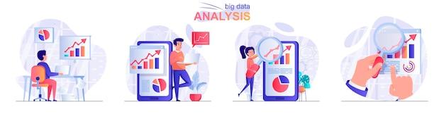 Установить большой анализ данных плоский дизайн концепции иллюстрации персонажей людей