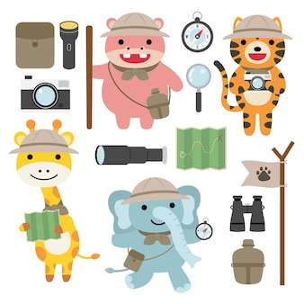 A set of big isolated   animal adventure traveling illustration, hand drawn style, hiking and camping concept with traveling elements  .