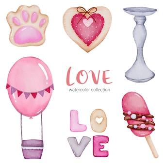 Set di cuori rossi-rosa romantici belli dell'elemento di concetto di san valentino dell'acquerello grande isolato per la decorazione, illustrazione