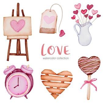 Set of big isolated watercolor valentine concept element lovely romantic red-pink hearts for decoration, illustration.