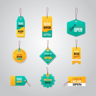 Set big opening tags we are open coronavirus quarantine is over advertising campaign concept