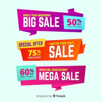 Set of big sales banner design, mega sale