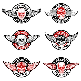 Set of biker club emblems templates. skull with wings.  elements for logo, label, emblem, sign.  illustration