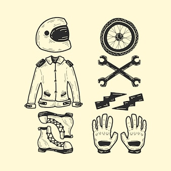 Set of biker elements